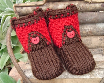 Hand knit baby booties  - Cowboy Boot-ies