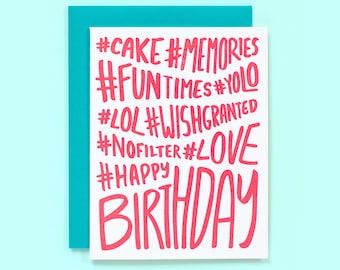Hashtag Birthday Card - Hashtag Happy Birthday - Fun Birthday Card - Friend Birthday Card - Instagram Card - Hashtags - Yolo - Letterpress
