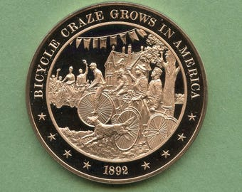 Franklin Mint Medal History Of United States Series:  Bicycle Craze Grows In America 1892, 44 mm Bronze Mint Condition<>#PSY-371