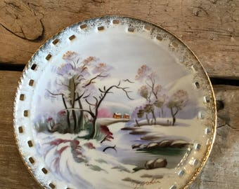 Vintage Japanese Collectors Plate Signed Hand Painted Plate