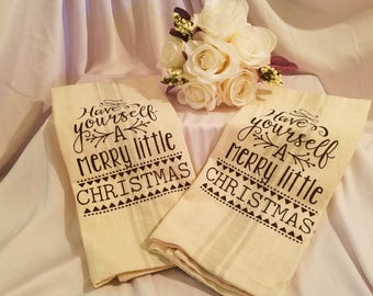 Dishcloths kitchen towels etsy towel christmas have yourself a merry little christmas kitchen towel linen tea towel solutioingenieria Choice Image