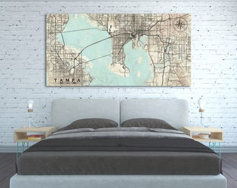 TAMPA FL Canvas Print Florida Tampa FL Vintage map Tampa City Map Horizontal Large Oversized Wall Art Vintage Canvas Office Art Home Decor