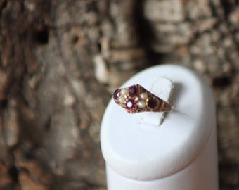 A Wonderful Victorian Pink Tourmaline And Pearl Ring   SKU276