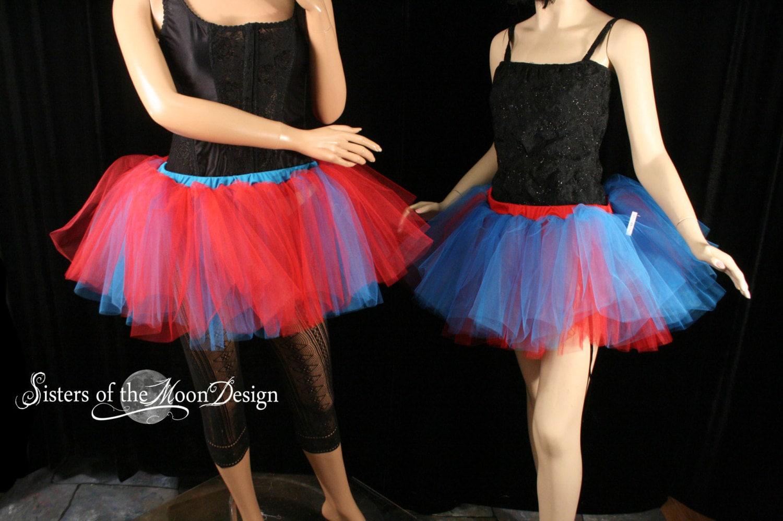 Thing 1 2 Tutu Skirt Set Par Two Layer Adult Cosplay