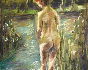 Nude in Pastel - Giclee Art Print, impressionist, figure painting, home decor, wall art