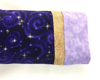 Eye Pillow with Removable Cover and Organic Ingredients, Aromatherapy Pillow, Stars and Galaxies in Purple
