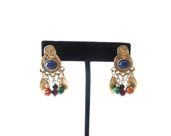 Pair of Lightweight Bohemian / Boho Gold Tone Metal Navy Blue Cab & Colorful Beaded Vintage Unmarked Pierced Dangle Earrings