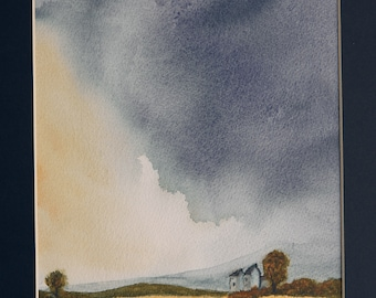 Original Watercolour Painting of a storm over a cornfield