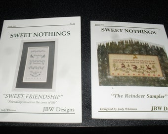 Cross Stitch Chart / Pattern - Set of two Sweet Nothings - Sweet Friendship/The Reindeer sampler