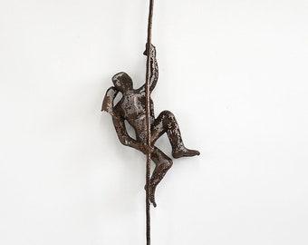 Miniature Metal sculpture, Climbing woman on rope, home decor, Abstract sculpture, Contemporary wall art