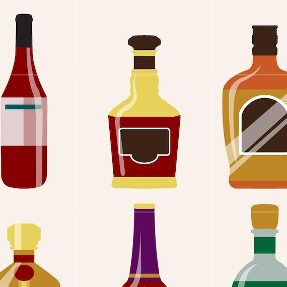 wine bottle digital vector clip art alcohol clipart design rh etsy com Whiskey Bottle Clip Art Alcohol Art