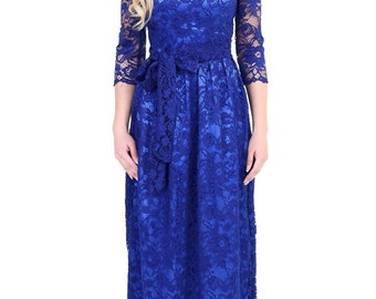 Last One Maxi Lace Dress Round Neck 3/4 Sleeves Sash Navy Blue