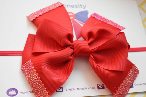 Big Red Grosgrain Bow with Fancy Tips - Baby / Toddler / Girls / Kids Headband / Hairband / Barrette / Hairclip / Birthday /Party / School