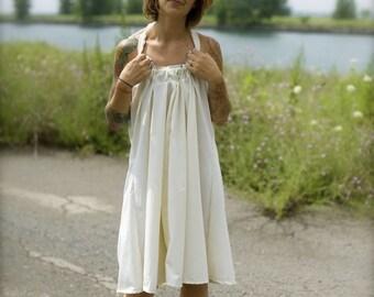 Women's White Open Back Dress | Backless Dress | Halter Dress | Low Back Dress | White Halter Dress | Vintage Dress | Boho Dress | Sundress