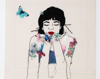 Butterfly Whisperer/Textil Art/Embriodery