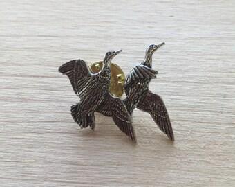 2 Ducks Flying Pewter Pin/ Brooch/ Badge