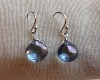 Mystic Blue Quartz Heart Faceted Briolette Sterling Silver Earrings 660