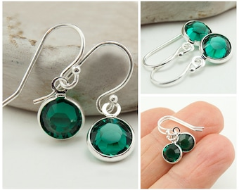May Birthstone Earrings, Emerald Green Earrings, Sterling Silver Swarovksi Crystal Gift Idea for Her, Simple Jewelry Drop May Birthday Gift