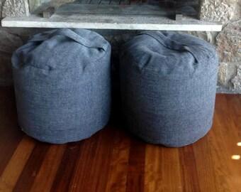 Grey Round Pouf, Grey Footrest Pouf, Anthracite Grey Ottoman Pouf