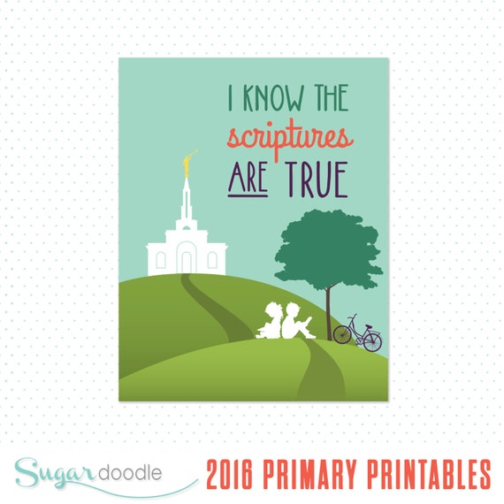 2016 LDS Primary Theme printable posters I know the