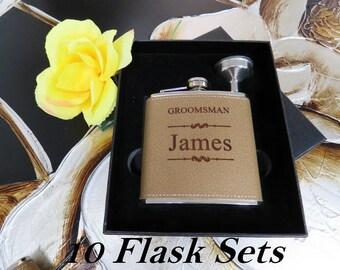 10 Groomsmen Flask Set Personalized