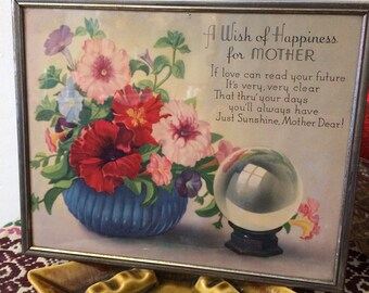 Vintage 1940s A Wish of Happiness Floral Framed Mothers Day Poem Art Gift for Mom