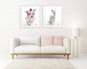 Pink Flowers Prints, Set of Floral Prints, Pink Painting, Set of 2 Prints, Large Prints, Canvas Set, Contemporary Wall Art, Flower Wall Art