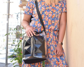 Clear big bag, black and clear shoulder bag, clear crossbody bag, vegan bag, big black and clear bag, medusa vegan bags, vegan handbag