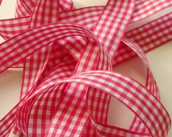 "7/8"" Gingham Ribbon - Shocking Pink and White - 5 yards"