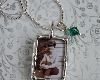 Soldered Glass, Photo Necklace, Memorial Charm, Mother Of Bride Wedding Pendant, Picture Frame Jewelry, Personalized Jewelry