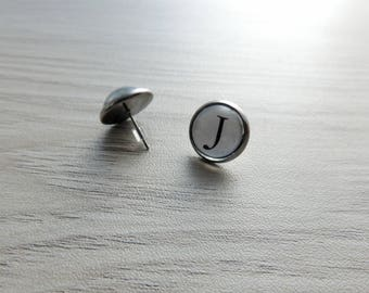 Initial earrings // Typewriter earrings // personalized earrings // Letter J earrings
