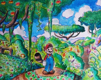 Raccoon Mario Landscape Original Watercolor Painting