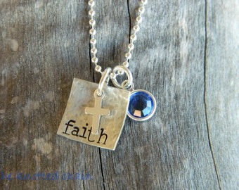 Tiny Hand Stamped Sterling Silver Nacklace's with Cross and Swarovski Birthstone