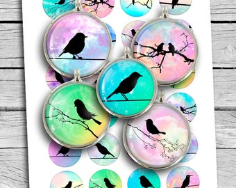Bird Silhouettes Round images 10mm 12mm 14mm 18mm 20mm Mirror images Printable Digital Collage Sheet