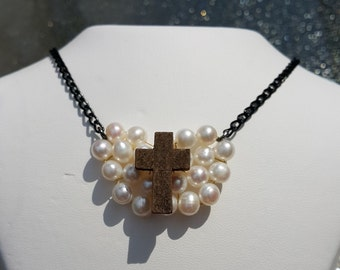 Cross My Heart Freshwater Pearl Necklace