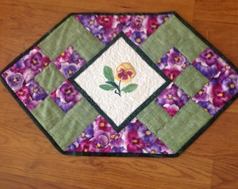 Quilted and Machine Embroidered Table Runner, Pansies
