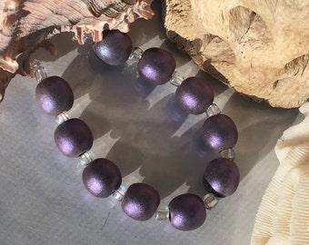 Handmade Lampwork Glass Beads SRA Dark Lavender Shimmering Sea Pearl Rounds (10)