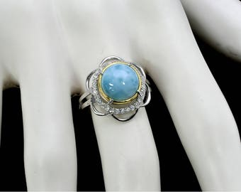 Larimar Natural 10mm W/ Gold Over Silver Bezel .925 Sterling Silver Ring Size 7