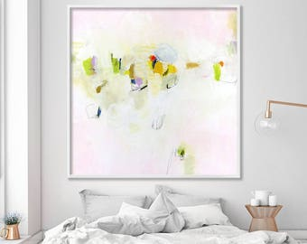 GICLEE PRINT of Large Abstract Painting Abstract Art Large Wall Art Pink Painting green, yellow feminine art Saturday Market 3