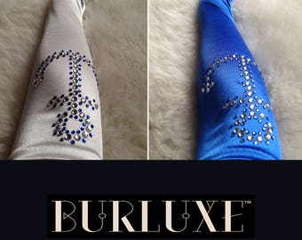 Custom Sailor Genuine Swarovski Crystal Burlesque Gloves with Anchors in Your Colour Choice