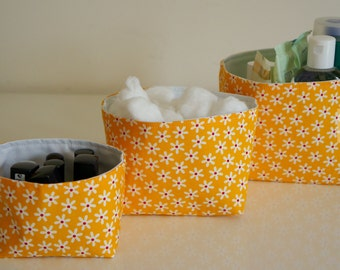 Fabric Storage Box Set - Yellow with White Daisy      -  Gift for Her, Gift for Wife, Gift for Women , Gift for Mum
