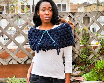 Handmade Chunky crochet Puff drawstring Scarf