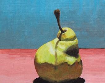 Pear in Primaries.  Original Painting.  8x6.