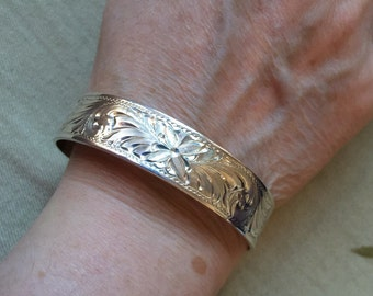 Sterling Engraved Cuff -- 614