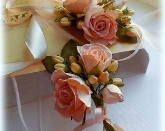 Wedding Peach Flower Set Wedding Accessory Flower Bridesmaid Corsage Boutonniere Boho Wedding forest Bridal Flowers