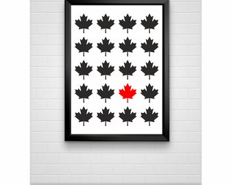 Red Maple Leaf of Canada print minimal poster wall decor (from US Letter and A4 up to A0 size)