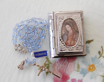 Vintage New Old Stock French-Made Catholic Child Rosary in Metal Case