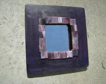 Deep dark PURPLE wood framed mirror with lilac, purple, marbled glass ceramics
