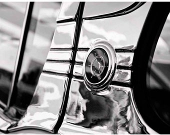Black and White Classic Car Detail Photo - Packard Clipper Ship's Wheel Logo - Chrome - Vintage Car Photography by Liberty Images - B&W Glam