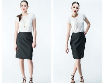 Black Pencil Skirt in Classic Suiting Fabric Knee Length Work Wear with Gold Zipper/Fully Lined Handmade Designer